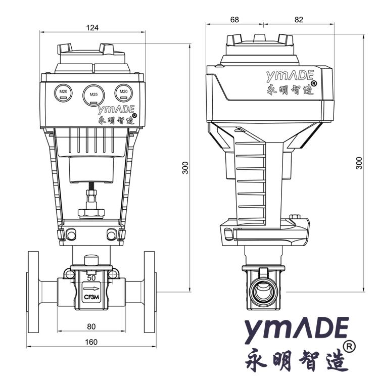 708PE-SAX西门子电动小流量调节阀外形尺寸图纸